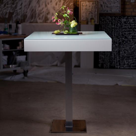 Led stehtisch white bloc light mietm bel von for Stehtisch barhocker kombination