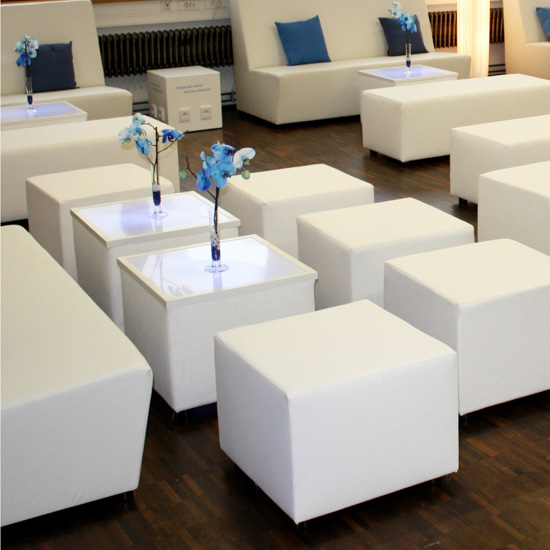 LED Loungetisch 50 - White [ CITY LIGHTS ] - Mietmöbel von ELEMENTS EVENTDESIGN