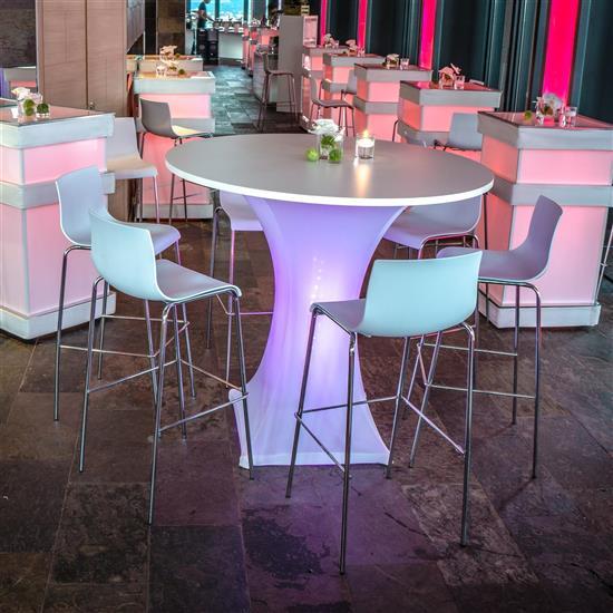 Led stehtisch glow mietm bel von eventoutfitter for Stehtisch barhocker kombination